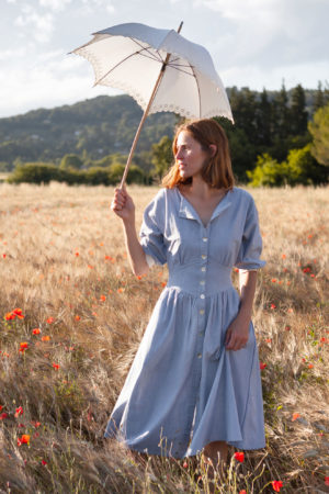 Lena Klar Paris - The Meryl Dress - Light Blue Chambray